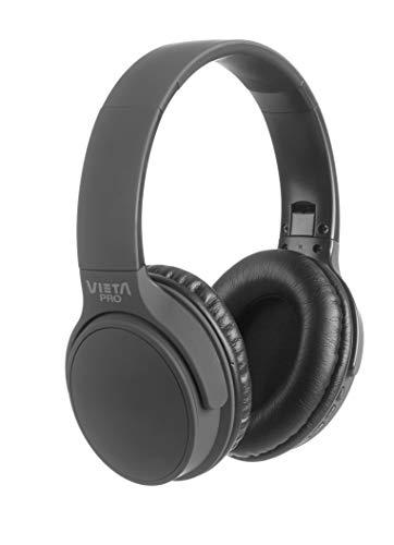Vieta Pro Way – Auriculares inalámbricos (Bluetooth, radio FM, micrófono integrado, entrada Auxiliar, reproductor Micro SD, plegables, autonomía 40 horas) plomo