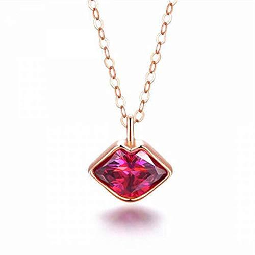 QWJ Collar de labios de beso escarlata de 18 quilates chapado en oro rosa de cristal de la clavícula, cadena de regalo de San Valentín