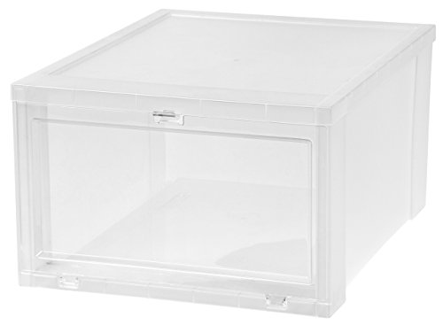 IRIS Large Drop Front Shoe Box, 6 Pack, Clear