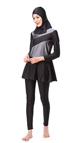 GladThink Frauen-muslimischen Burkini 3-Piece-Dame-Badeanzug-Badebekleidung Grau XL