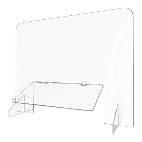 Sneeze Guard - Portable Counter Shield | Protective, Freestanding Barrier For Reducing Germ Transfer | Acrylic Plexiglass Countertop | Stand with Transaction Window Acrylic | 32' Wide x 24' Tall