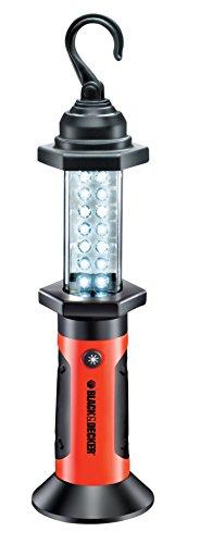 Black + Decker BDLB14 BDLB14-Mini luz de Trabajo giratoria magnética de 14 LED (incluida 3X AA), Naranja/Negro