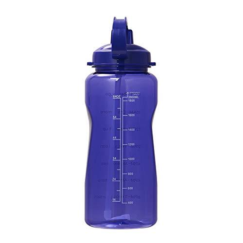 Aohro Botella de agua Tritan de gran capacidad con marcador de tiempo libre de BPA, botellas de bebidas deportivas, batidora de proteínas, gimnasio y fitness.