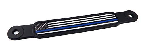 USA Police Thin blue line flag Screw On License plate Emblem Car Decal badge