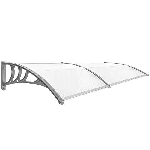 PrimeMatik - Tejadillo de protección 200x80cm Marquesina para Puertas y Ventanas Gris