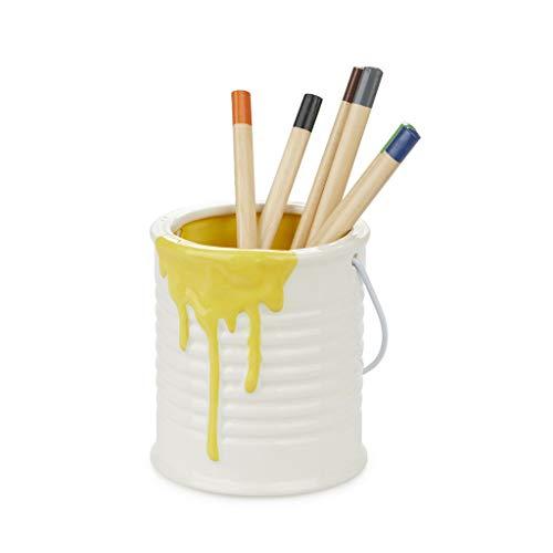 Balvi Portalápices Painty Color Amarillo y Blanco Bote para lápices Original y Divertido en Forma de Bote de Pintura con asa metálica Cerámica/Metal