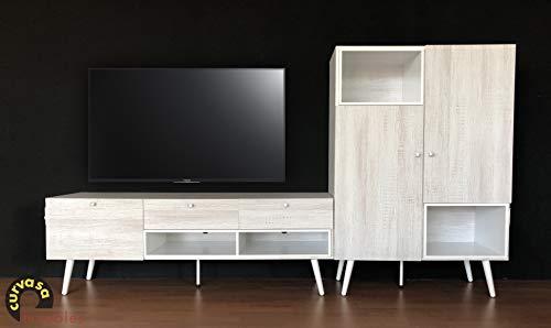 Curvasa - Mueble Comedor Salón Moderno Color Roble Blanco Medidas 240 x 130 cm Harmony