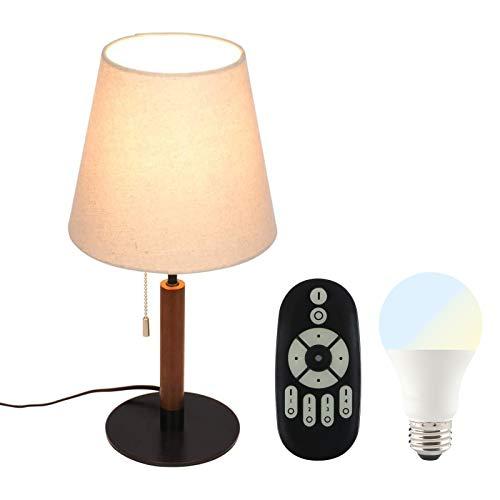 共同照明 デスクスタンド テーブルランプ E26 調光調色 LED電球付き 40w形 GT-SETTD-334T-6WT2-Y リモコン対応 布シェード ファブリック スタンドライト ルームライト 北欧 シンプル おしゃれ 木の温もり インテリア 卓上ライト