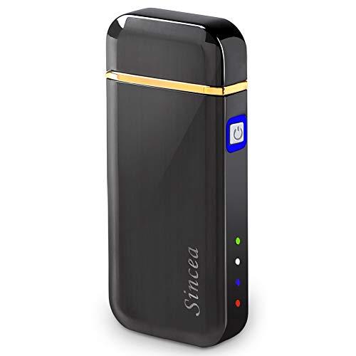 プラズマ 電子 ライター USB 充電式 オイル・ガス不要 防風 ポケットサイズ プラズマライターとLEDライトが一体化! タバコ アウトドア キャンプ 点火 メンズ プレゼント Sincea (ガンメタ)