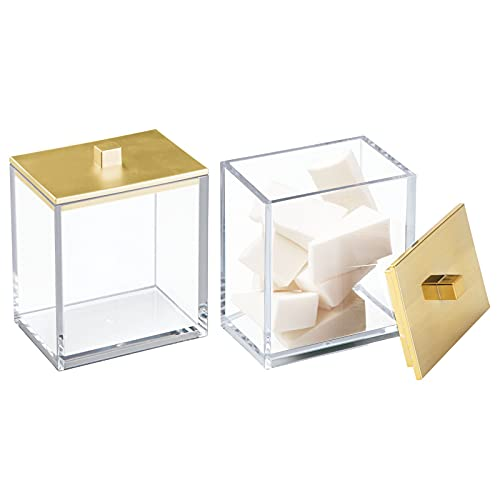 mDesign Modern Square Bathroom Vanity Countertop Storage Organizer Canister Jar for Cotton Swabs, Rounds, Balls, Makeup Sponges, Bath Salts - 2 Pack - Clear/Gold