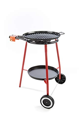 Garcima Lucia Paella Pan Set with Gas Burner, 18 Inch Enameled Grill Plat and Support Stand with Wheels and Accessory Tray, Imported from Spain (12 Servings)
