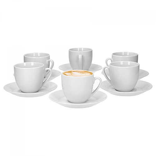Van Well Trend 6er Set Kaffeetasse mit Untertasse rund, 230 ml Tasse weiß Porzellan Geschirr
