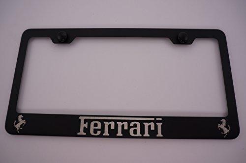 Ferrari Laser Engraved Black License Plate Frame with Caps