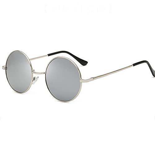 Gafas de Sol Redondas Retro Unisex Deportes Gafas de Sol para de Moda Protección UV400 de Gran Tamaño Golf Ciclismo Pesca Senderismo protección,Plata