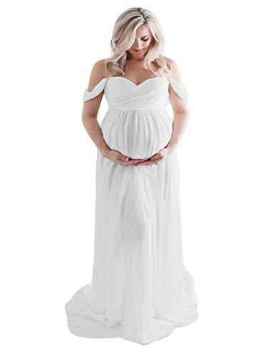 BUOYDM Embarazada Chifón Larga Vestido de Maternidad Split Vista Delantera Foto Shoot Dress Faldas Fotográficas de Maternidad Blanco S