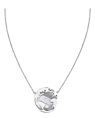 SOFIA MILANI Damen Halskette Globus Weltkarte Silber 50213