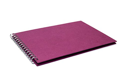 Pink Pig Sammelalbum, A4, Querformat, recyceltes schwarzes Papier, 20 Blätter, Maulbeerfarben