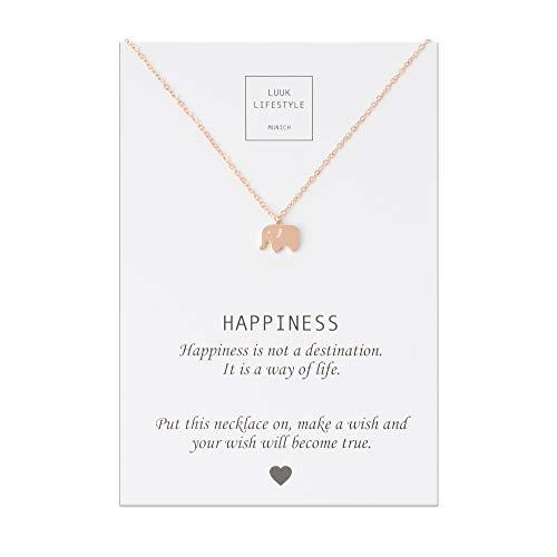 LUUK LIFESTYLE Edelstahl Halskette mit Elefanten Anhänger und Happiness Spruchkarte, Glücksbringer, Damen Schmuck, rosé
