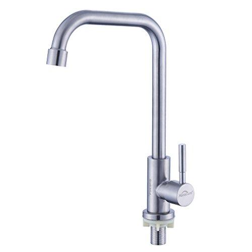 Auralum 360° drehbar Kaltwasserhahn, Einzelne Wasserhahn Kaltwasser Armatur für Spüle&Garten, Spültischarmatur Outdoor-Küche aus Edelstahl (7 form)