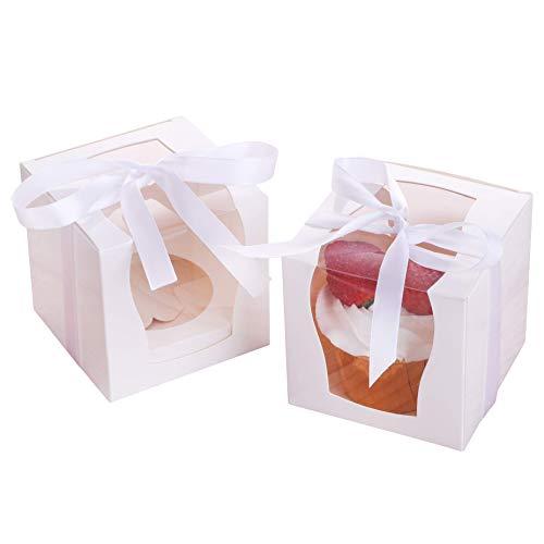 12 Stück einzelne Cupcake-Boxen mit Fenster, weiße einzelne Cupcake-Behälter mit Einsätzen und Dekobändern, Papierbox-Halter, einzelne Kuchen-Box Keks-Verpackung für die Präsentation