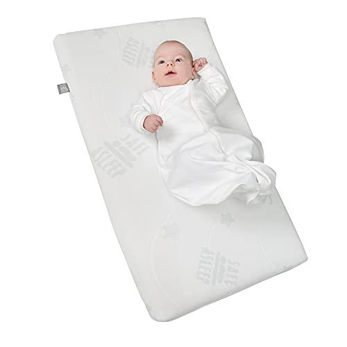 safe asleep von roba Stubenbettmatratze AIR BALANCE PLUS , 45x85x5,5 cm, atmungsaktives 3D Material für ein optimales Schlafklima, mehrfach gerillt und gelocht, Stuben- Kinderbettmatratze