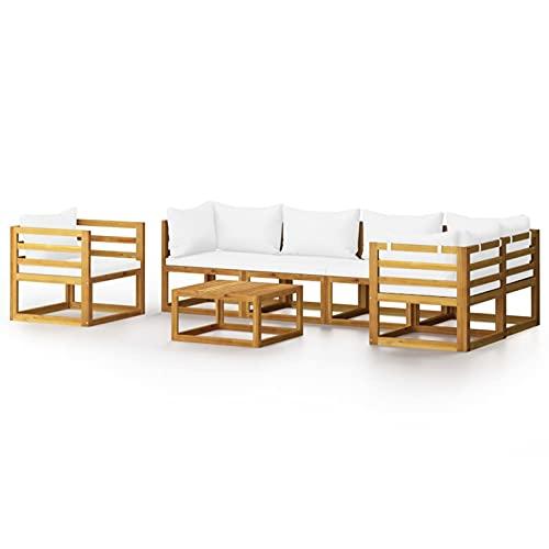 Tidyard Muebles de jardín 7 pzas Cojines Crema Madera Maciza de Acacia 4# Diva | Set Muebles de Jardin Conjuntos de Muebles de jardín Sillas de Comedor de jardín para Exterior