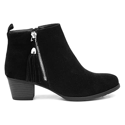 Lilley Womens Black Faux Suede Heeled Ankle Boot - Size 7 UK - Black