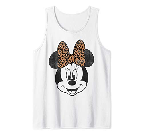 Disney Mickey And Friends Minnie Mouse Leopard Bow Retrato Tank Top