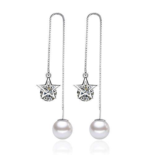 LIUBAOBEI Pendientes De Mujer Aro,Pendiente De Gota De Color Plateado 925, Pendiente De Cristal De Perlas para Mujer, Joyería Femenina De Moda-G