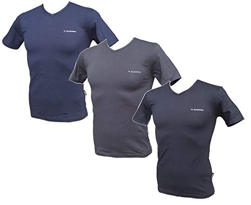 T-Shirt Uomo 3 Pezzi, Maglietta Intima Manica Corta Scollo V, Cotone Diadora 901 (6°/XL, 1 Nero + 1 Blu + 1 Grigio Antracite)