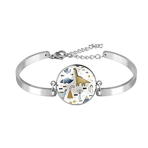 Z&Q Charm Armband Für Frauen Silber Einstellbar Muttertag Schmuck Geschenk Geburtstagsgeschenk Für Mama Frauen Frau Mädchen Wüste Dinosaurier Kakteen