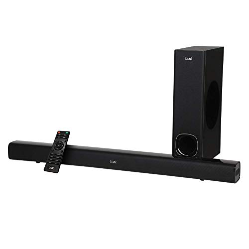 (Renewed) boAt Aavante 1200 Wireless Bluetooth Soundbar Speaker with Subwoofer Black