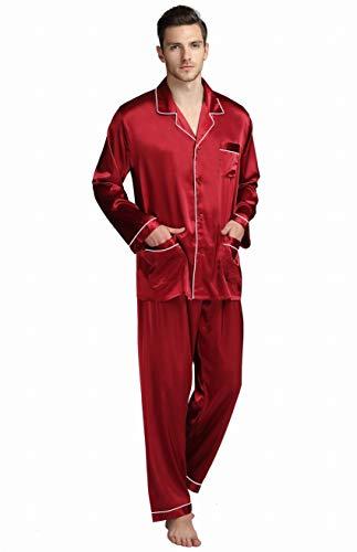 Herren Seide Schlafanzug Pyjama Rot XXXX-Large