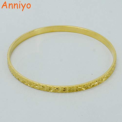 NCDFH 61cm Bangle for Women Gold Color Round Bangle Ethiopia Charm Bracelet Africa Wedding/Arab Jewelry/Nigeria