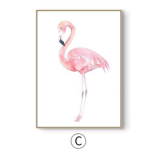 LiMengQi2 Pink Flamingos Wall Art Canvas Print Animal Cartoon Poster Nursery Painting Picture Kids Bedroom Decoration (Sin Marco)