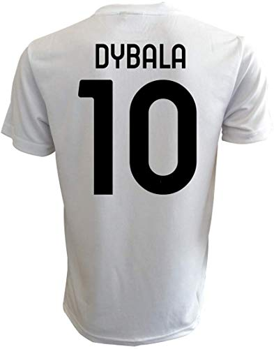 Offizielles weißes schwarzes Fußballtrikot 2020/2021 - Dybala N.10 - Größen für Kinder und Erwachsene (L)