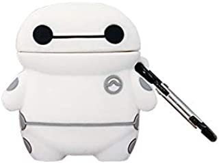 Ultra Thick Soft Silicone Baymax Case with Hook Clip Keychain for Apple Airpods 1 2 Wireless Earbuds 3D Walt Disney Cartoon Big Hero 6 White Robot Cool Fun Kids Teens Boys Son
