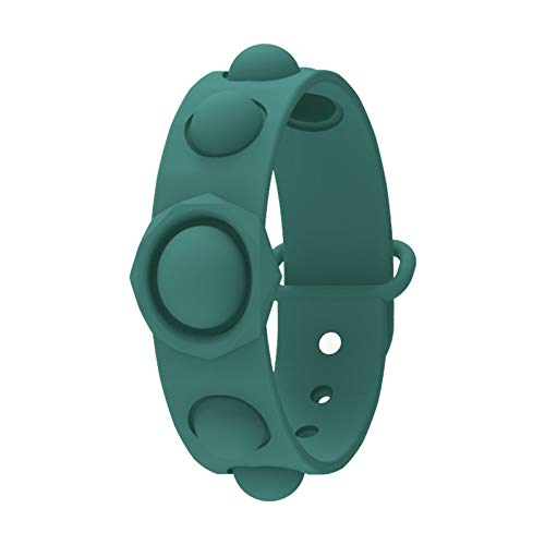GMtes Muñequera antiestrés Fidget Toys, Wearable Push Bubble Sensorial Fidget Hand Finger Press Pulsera de Silicona Juguete para niños Adultos,Verde