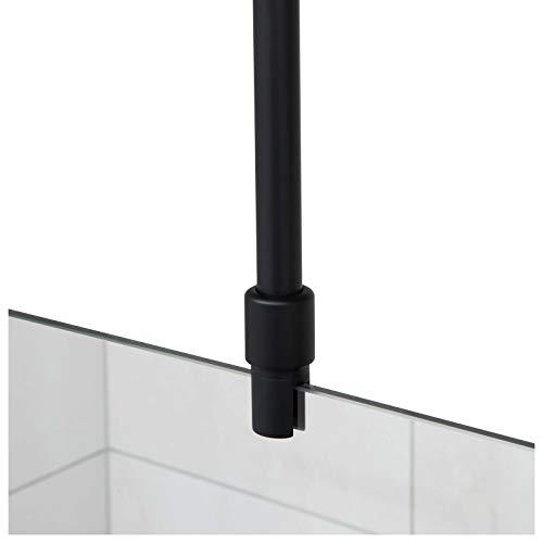 Stabilisationsstange für Duschen, Haltestange Glas - Decke, Stabilisierungsstange Duschwand, Stabilisator (Schwarz)