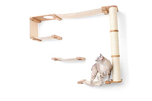 CatastrophiCreations Climb - Multiple-Level Cat Hammock & Climbing Activity Center, 36 x 56 x 12 Inches, Natural Bamboo/Natural Canvas (Pack of 1)