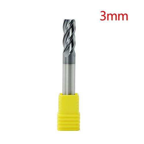 CNC Drehmaschine Fräser Schaftfräser Bohrer, 4 Flöten Wolfram Stahl Schaftfräser für Holz Aluminium Metall 3mm