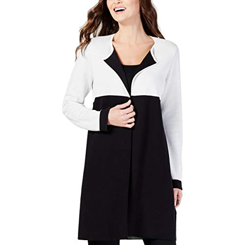 Alfani Womens Colorblock Long Sleeves Duster Sweater Black XL