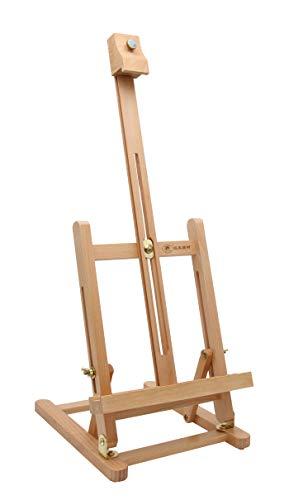 Paintersisters-Neuss Caballete de mesa T-40 de haya FSC® para bastidor de hasta 40 cm, caballete de asiento, altura de pintura y ángulo de inclinación ajustable