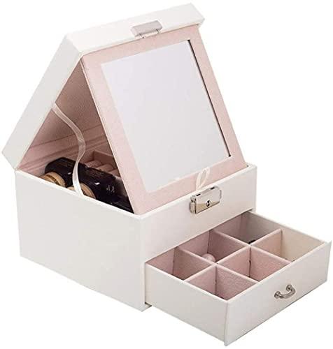 Exquisita caja de almacenamiento de piel para joyas, tres cajones, portátil, diseño de princesa