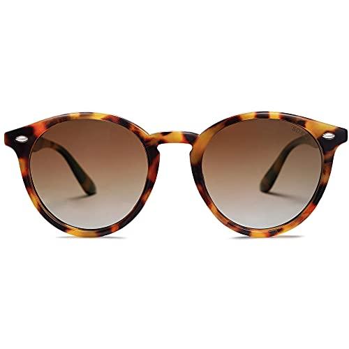 SOJOS Classic Retro Round Polarized Sunglasses for Women Men SJ2069 ALL ME Amber Tortoise/Brown
