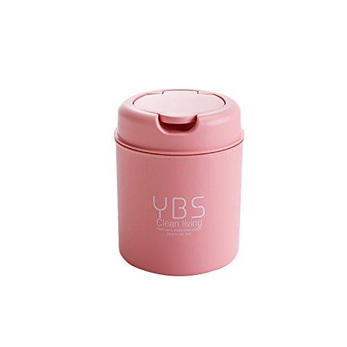 display08 Mini poubelle à couvercle rabattable pour la maison ou le bureau - Rose