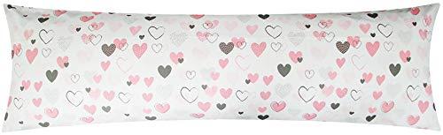 Baumwoll Renforcé Seitenschläferkissen Bezug 40x145cm - Love Liebe Herzen - 100% Baumwolle Stillkissenbezug (KY-187/1)