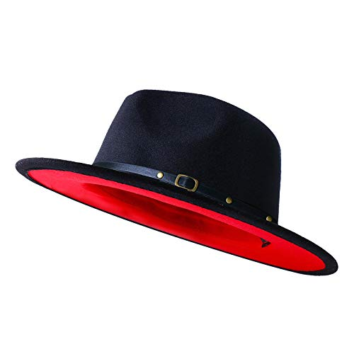 XINBONG Mens & Womens Black and Red Wide Brim Fedora Hat with Belt Buckle Band Two Tone Felt Panama Hat (Black & Red-Belt, Medium)