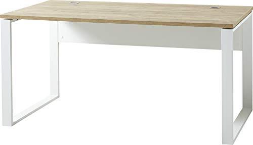 Germania 4157-513 GW-Lioni Schreibtisch, in Weiß/Navarra-Eiche-Nb., mit Metallkufen, 158x75x79 cm (BxHxT)