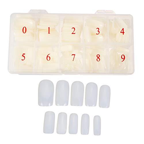FRCOLOR 1 Boîte / 500Pcs Faux Conseils pour Les Ongles Conseils de Clous Artificiels de Couleur Unie pour Salon de Manucure Et Nail Art Diy